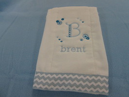 This burp cloth cqn be custom designed for boy or girl